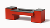 Propane Fire Table Hidden Tank - Shown Red Powder Coat Aluminum Finish with the Black Granite Top.