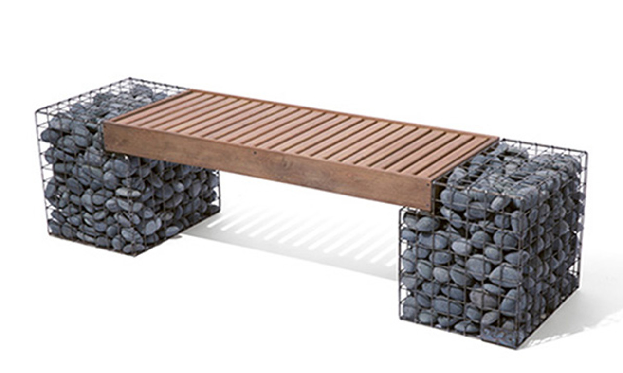 Fine Gabion Bench Ipe Slats Gmtry Best Dining Table And Chair Ideas Images Gmtryco