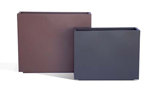 Aluminum Slab Planters- As shown Large and Small Slab in Powder Coated Rust and Charcoal Grey Aluminum