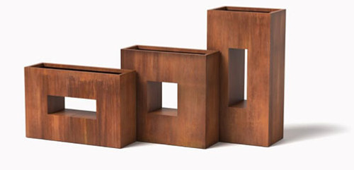Window Box Planters: As shown Square, Vertical, and Horizontal Window Boxes in Cor-Ten Steel Natural Rust Finish.