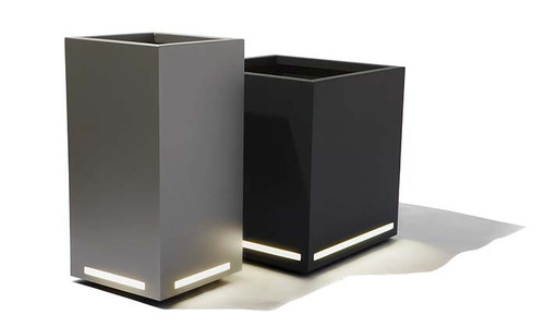 Modern LED Planter: Shown with  LED Face Lighting on Powder Coated Aluminum Column and Cube Planters