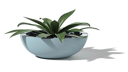 Aluminum Bowl Planter- Large Powder Coat Aluminum Robbins Egg Blue Finish