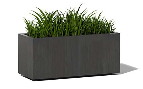 Aluminum Mid Rectangle Planter- As shown size medium in oxidized aluminum patina finish.