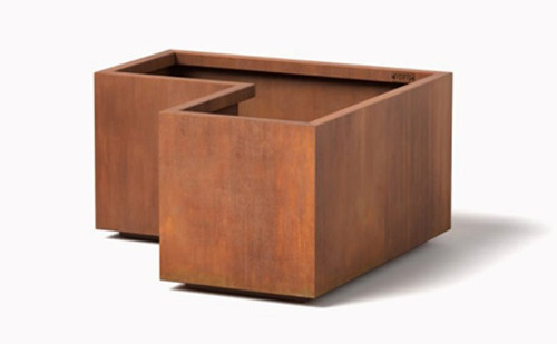 Modular Corner Planter- As Shown Cor-Ten Steel Natural Rust Finish.