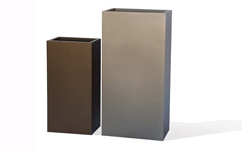 Aluminum Bar Planter- As shown Small and Large Bar Planter in Powder Coated Metallic Silver and Textured Hammered Bronze Aluminum.