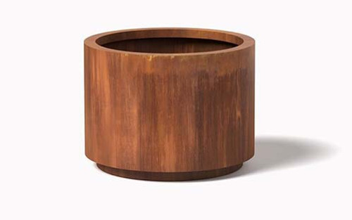Metal Cylinder Planter- As shown Cylinder Planter in corten steel natural rust finish.