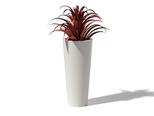 Aluminum Cone Planter- As shown Linen White Powder Coated Aluminum