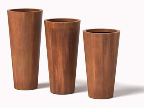 Metal Cone Planter- As shown Cor-Ten Steel Natural Rust Finish.