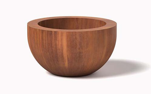 Round Corten Steel You Planter- As shown in Cor-Ten Steel Natural Rust Finish.