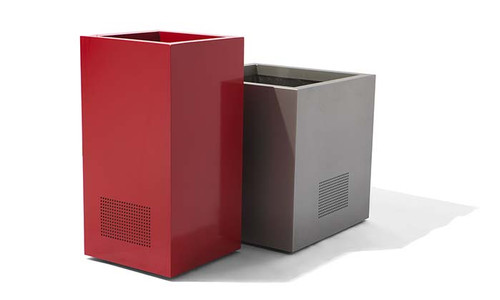 """Custom Speaker Planters Shown- 18"""" Column and 21"""" Cube in Powder Coated Red and Metallic silver Aluminum w/ Speaker Configuration."""