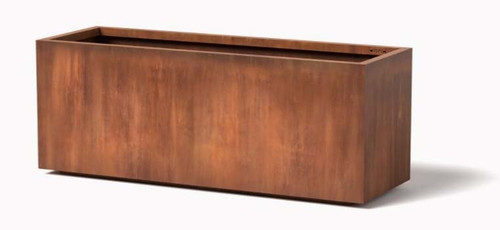 High Rectangle Planter: Large size shown in cor-ten steel natural rust patina finish.
