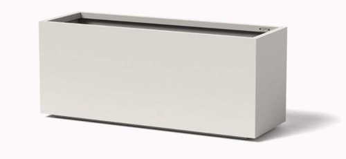 High Rectangle Planter - As shown Tall Rectangular planter with the powder coated satin white aluminum finish.