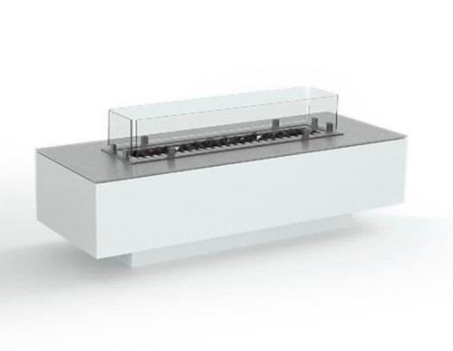 Contemporary Linear Gas Fire Pit- Powder Coat Aluminum Satin White Finish, Glass Surround and Stainless Steel Top