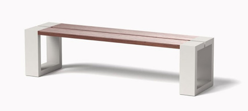 CHANNEL BENCH: Shown in Powder Coat Linen White Aluminum With IPE Wood Plank Bench Seat Top