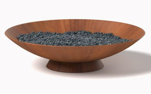 Round Fire Pit Dish- As shown Natural Gas configuration 250K BTU Burner in Corten Steel with a Natural Rust Patina and Black Lava Rocks.
