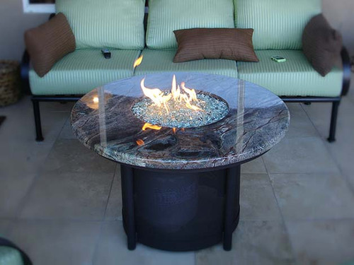 Round Propane Gas Fire Pit- Shown in Powder Coated Steel Black Finish with Rain Forest Marble Top.
