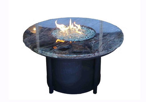 Round Propane Fire Pit Table: As shown with the  rain forest marble top and black powder coated base.