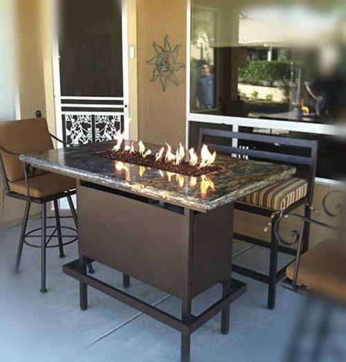Bar Height Propane Fire Pit Table - Powder Coated Steel Black Frame with St Cecilia Granite Top and optional Foot Rail.
