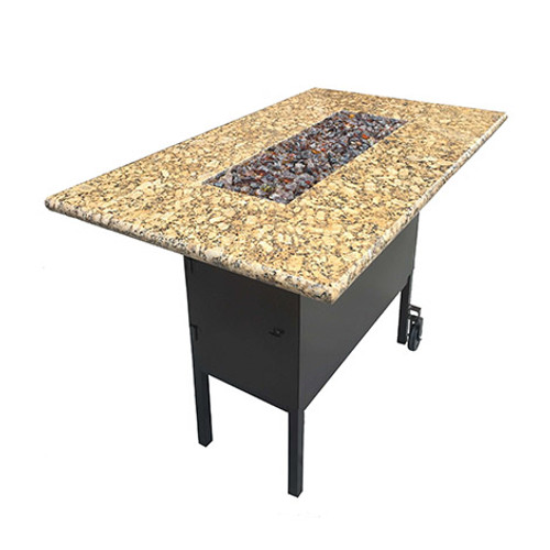 Bar Height Fire Pit Table - As Shown Powder Coated Steel Black Frame with St Cecilia Granite Top and optional Caster Wheels.