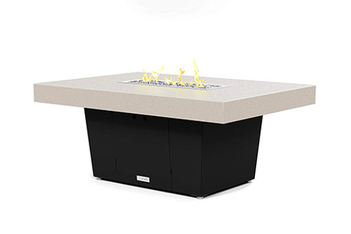 "Palisades Fire Table: Beige 4"" Aluminum Powder Coat Top and Black Powder Coated Base"