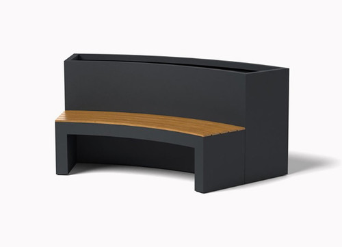 Curved Planter Bench: As shown Aluminum Powder Coated Charcoal Grey with Bench Ipe Wood Top.