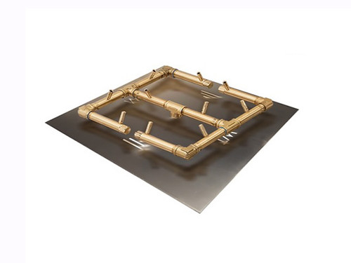 "120k BTU Crossfire Brass Burner: As shown With Aluminum 24"" Square Plate"