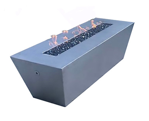 Bobe Rectangular Natural Gas Fire Table: As Shown  Powder Coat Stainless Steel Slate Finish Color Option Manual Match Lit