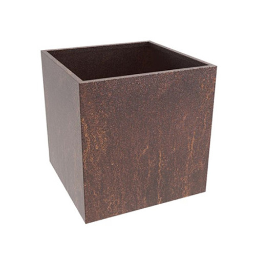 Square Steel Planter- Shown in a Cor-Ten Steel with a natural rust patina.  Watch as this awesome steel develop and change over time into beautiful  warm bronze and oranges tones.