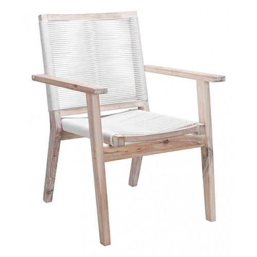 South Port Dining Chair: As shown white washed Acacia wood frame and synthetic white weaved seat and chair back. (angle view)