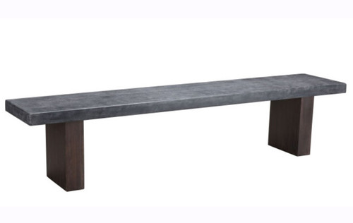 Zuo Modern Windsor Bench: As shown dark stained Acacia Wood legs and bench seat in a smooth gray poly cement.