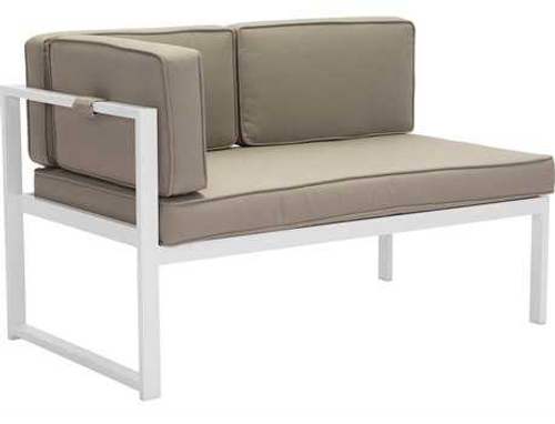 Golden Beach Chaise LHF: As shown in galvanized aluminum frame in a bright white with taupe cushions: (angle view)