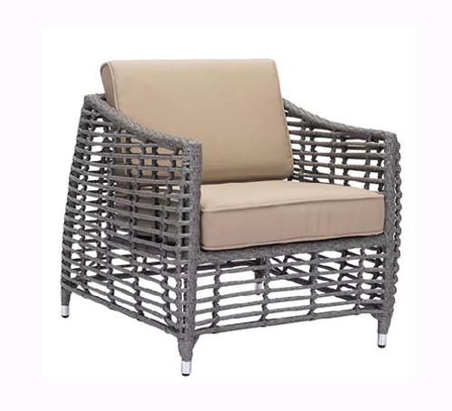Trek Beach Gray and Beige Arm Chair: As shown synthetic weave design in modern grey weather proof aluminum frame and beige cushions. (angle view)