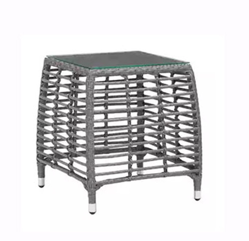 Trek Beach Side Table: As shown durable synthetic weave design in on-trend and aluminum gray frame. (angle view)