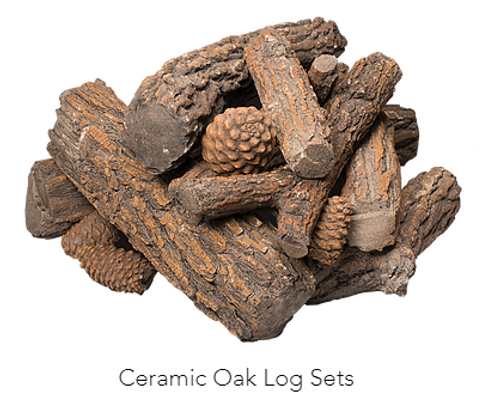 Oak Ceramic Log Set:  Heavy duty ceramic ensures a long lasting product which is high heat resistant and has a realistic appearance of oak logs. For gas burners.