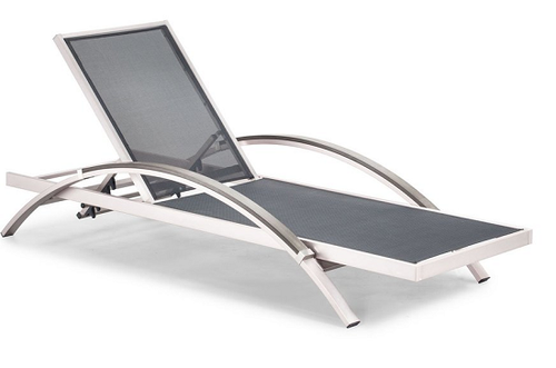 Metropolitan Chaise Lounge: Brushed aluminum frame, poly-wood arms and sling weave all engineered with UV protection. (angle view)