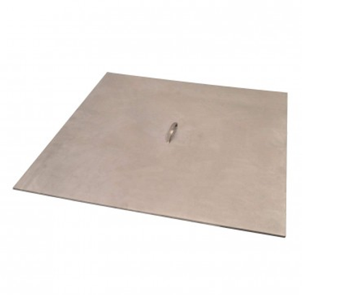 "Warming Trends Square Fire Pit Cover:  As shown 1/8"" Brushed Aluminum Fire Pit Cover."