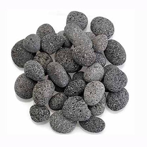 Warming Trends Rolled Black and Gray Lava Fire Pit Rocks: As shown 1-2 inch black and gray rolled lava rocks.
