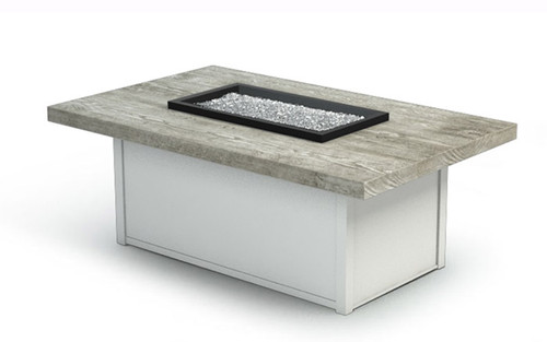 "Homecrest Timber Top Fire Table: As shown 19"" coffee height with the driftwood top and glacier aluminum base."