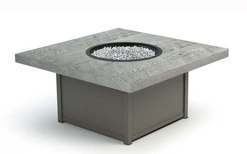 "Homecrest (Natural Series) Gas Fire Table 42"" Driftwood Top, Storm Powder Coat Frame and Crystal Ice Fire Glass"
