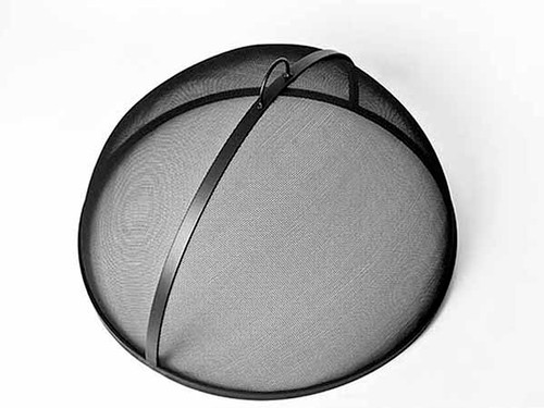Dome Fire Pit Screen- Shown 1/4″ x 1″ solid steel flat frame, fine steel mesh screen 8 x 8 per sq. inch 23 gauge carbon steel with a high heat resistant black finish.  Top View