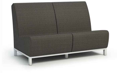 Outdoor Grace Air Armless Loveseat- As shown, Cedar Sensational Sling Fabric and Glacier powder coated aluminum frame.
