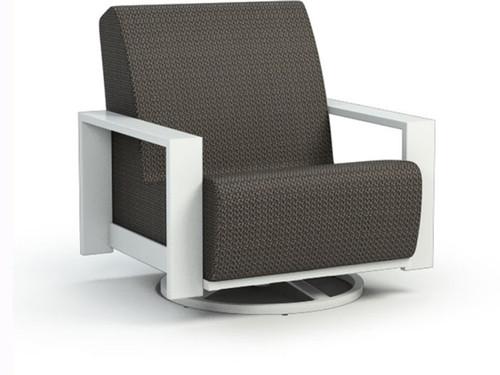 Homecrest Grace Air Aluminum Swivel Rocker chair -As shown Cedar Sensation Sling with a Glacier aluminum powder coated frame.