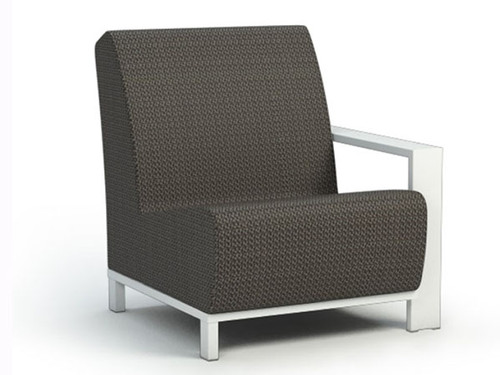 Homecrest Outdoor Grace Air Left Arm Chat Chair- As shown with glacier powder coated aluminum frame and cedar sensation sling fabric.