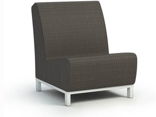 Grace Air Aluminum Armless Chat Chair- As Shown sensation sling fabric in cedar and powder coated aluminum frame in glacier white.