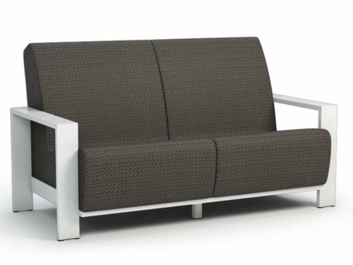 Grace Air Aluminum Arm Loveseat- As shown Sensation Sling cedar and powder coated aluminum glacier white.