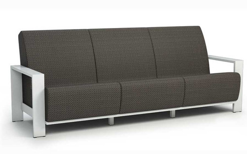 Homecrest Grace Air Aluminum Arm Sofa- As shown Sensation Sling Cedar and powder coated aluminum Glacier white frame.