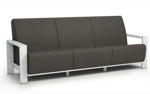 Homecrest Grace Air Aluminum Arm Sofa- As shown Sensation Sling Cedar and powder coated aluminum Glacier white frame.