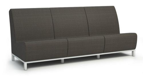 Homecrest Grace Air Aluminum Armless Sofa- As shown powder coated aluminum glacier white frame and Sensation Sling Cedar fabric.