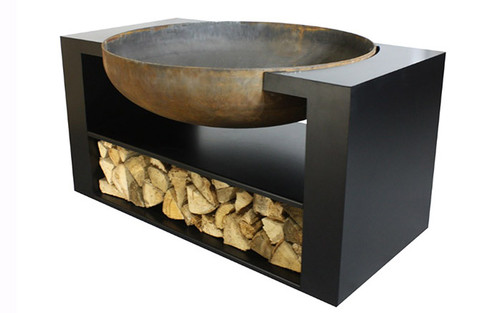 "Albion Contemporary Metal Wood Burning Fire Pit- As shown 11 gauge natural rust steel 36"" fire bowl and flat black powder coated base compartment.  (Side View)"