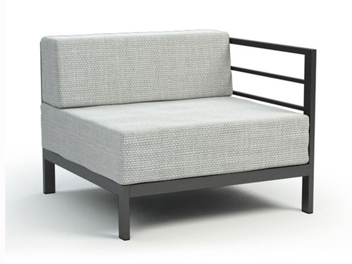 Homecrest Allure Modular Right or Left Arm Chair- As shown with the Ultracore Cushion in a Alloy fabric and the aluminum frame with a powder coated aluminum carbon finish.